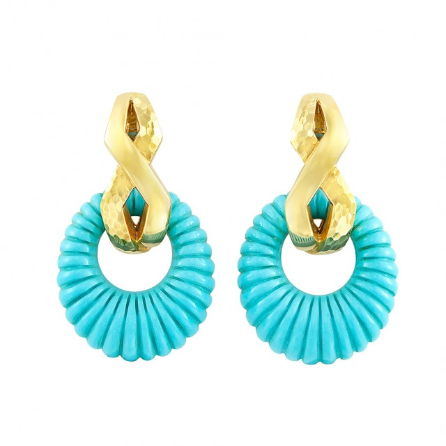 Pair of Gold and Fluted Turquoise Pendant-Earclips, Andrew Clunn