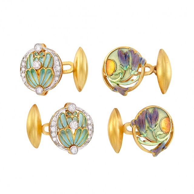 Two Pairs of Gold, Plique-à-Jour Enamel and Diamond Cufflinks, Masriera