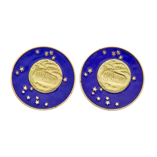 Tiffany and Co. Pair of Gold and Blue Enamel 'Lunar Landing' Earclips