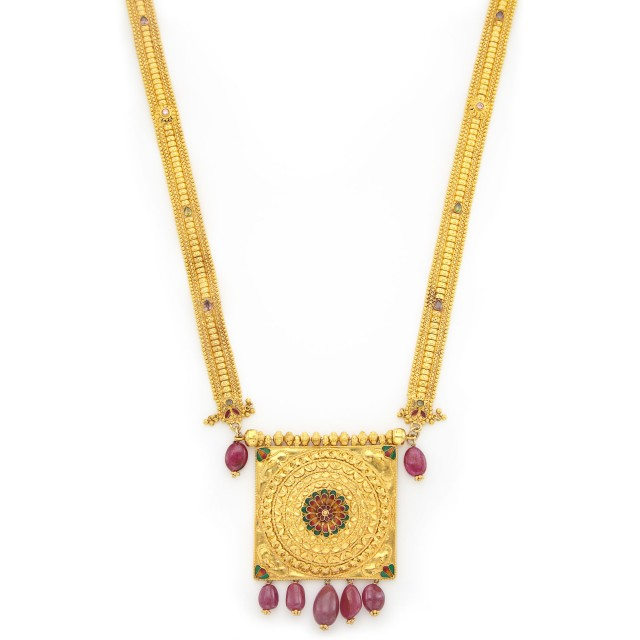 High Karat Gold, Ruby Bead, Enamel and Gem-Set Pendant-Necklace