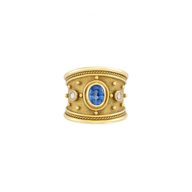 Gold, Sapphire and Diamond Band Ring, Elizabeth Gage