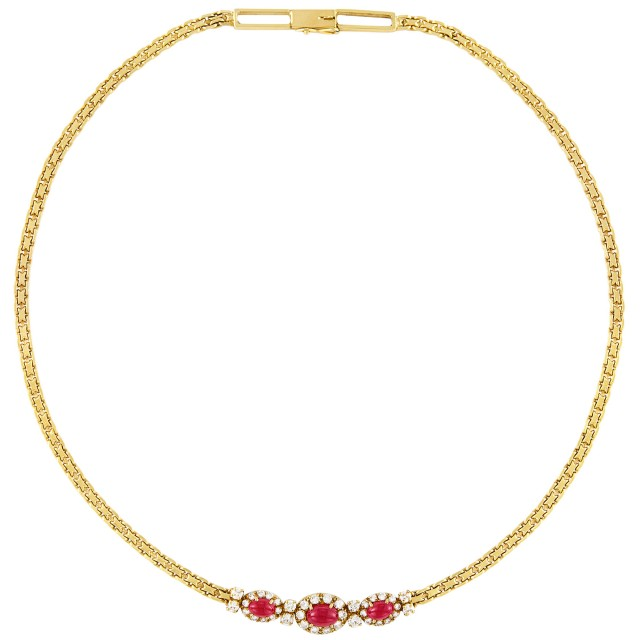 Gold, Cabochon Ruby and Diamond Necklace, Van Cleef & Arpels, France