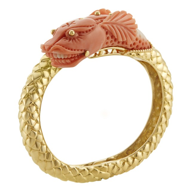 Gold and Coral Bangle Bracelet, Wander, France
