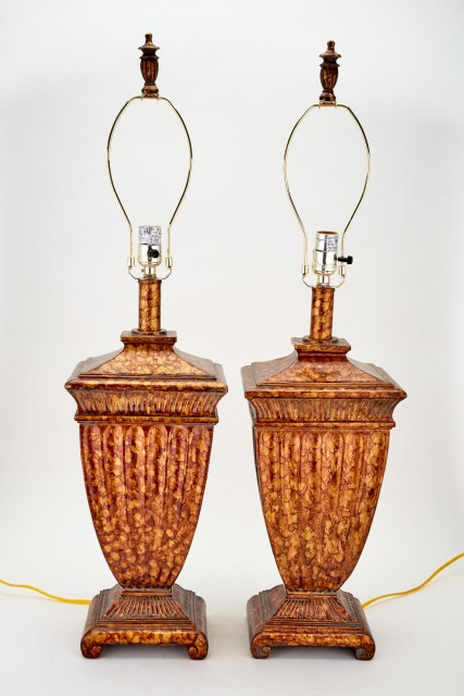 Pair of Painted Composition Urn-Form Lamps