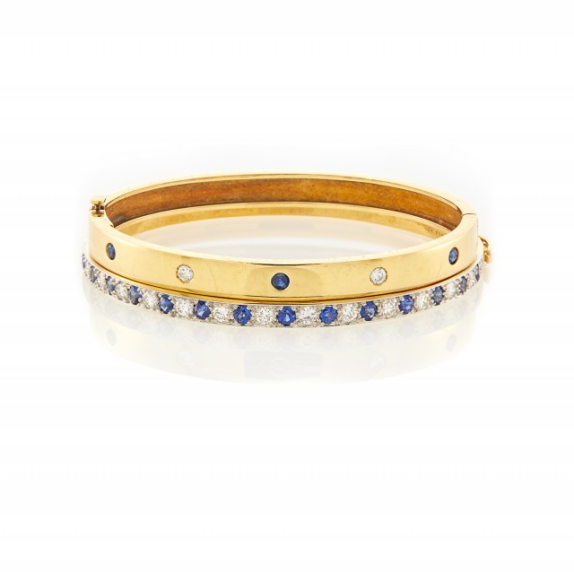 Cartier Gold, Sapphire and Diamond Bangle Bracelet and Gold, Platinum, Diamond and Sapphire Bangle Bracelet