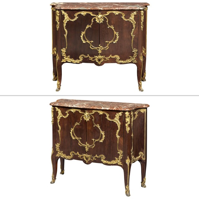 Pair of Louis XV Ormolu-Mounted Amaranth Meubles d'Appui