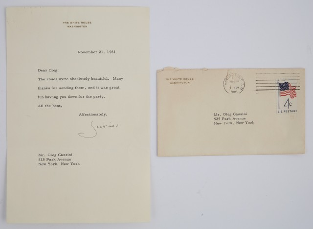 KENNEDY, JACQUELINE as FIRST LADY  Typed letter to Oleg Cassini.
