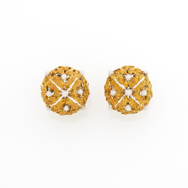 Buccellati Pair of Two-Color Gold Earclips