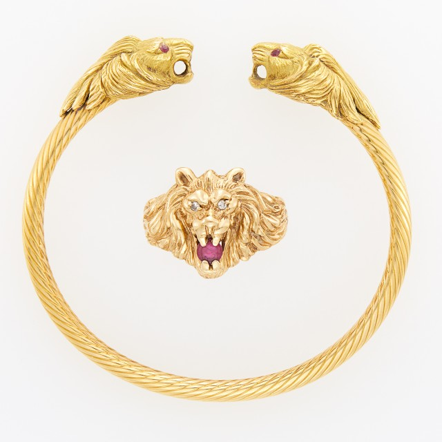 Gold, Ruby and Diamond Lion Bangle Bracelet and Ring