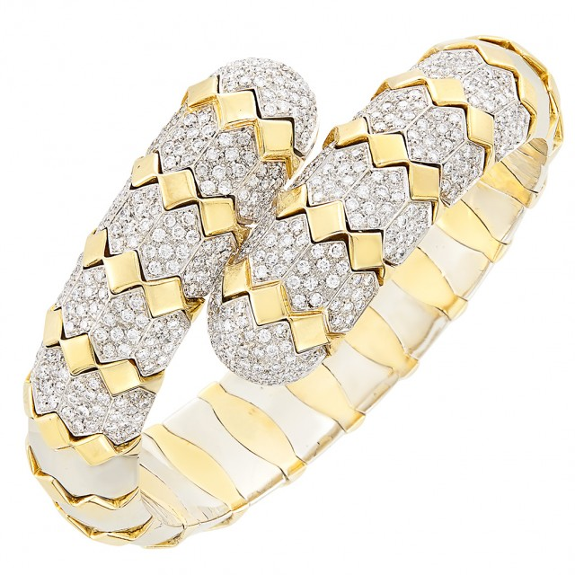 Two-Color Gold and Diamond Crossover Bangle Bracelet
