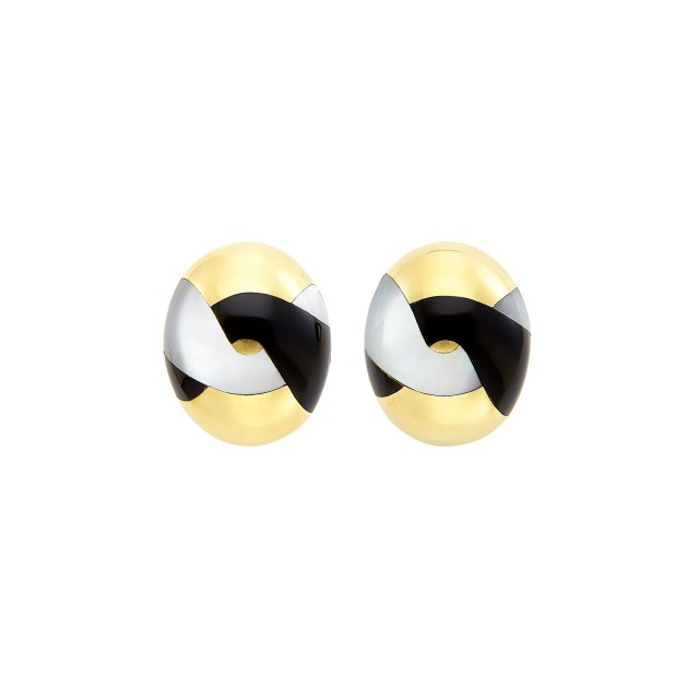 Pair of Gold, Mother-of-Pearl and Black Jade Earrings, Tiffany and Co.