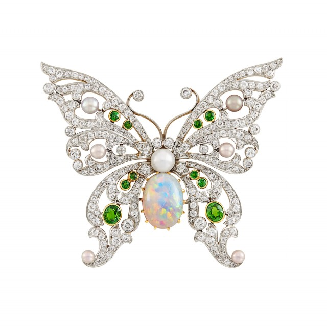 Antique Platinum-Topped Gold, Opal, Diamond, Demantoid Garnet and Pearl Butterfly Brooch