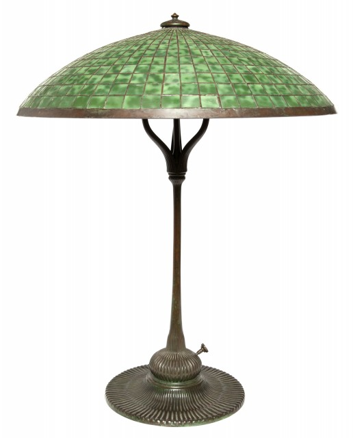 Tiffany Studios Bronze and Leaded Glass Parasol Library Lamp