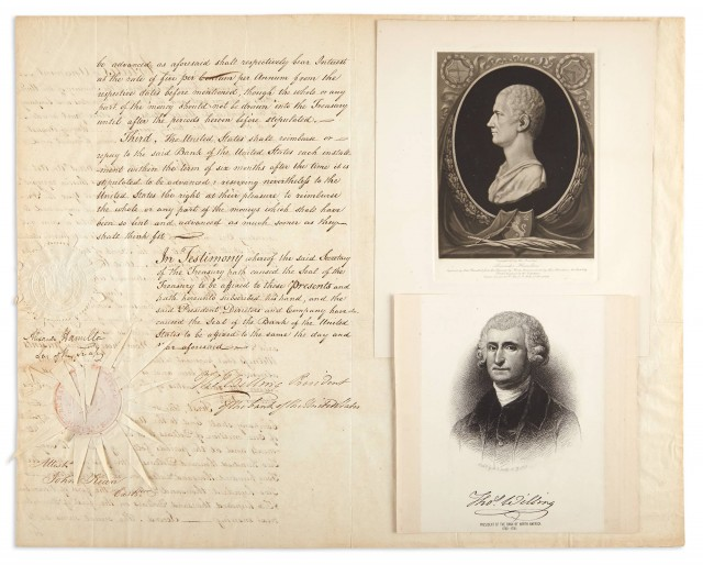 HAMILTON, ALEXANDER  Document signed as Secretary of the Treasury.