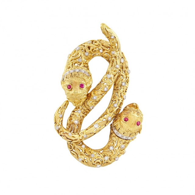 Gold, Diamond and Ruby Chimera Clip-Brooch, Ilias Lalaounis