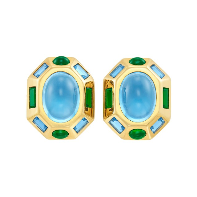 Pair of Gold, Cabochon Blue Topaz and Tourmaline Earclips, Verdura