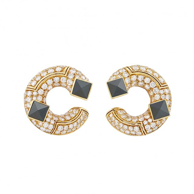 Pair of Gold, Diamond and Hematite Earclips, Bulgari