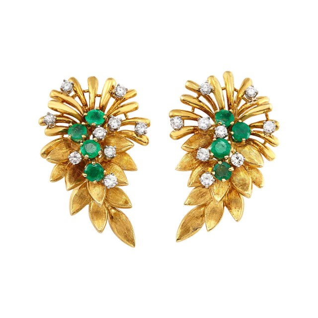 Pair of Gold, Emerald and Diamond Earclips