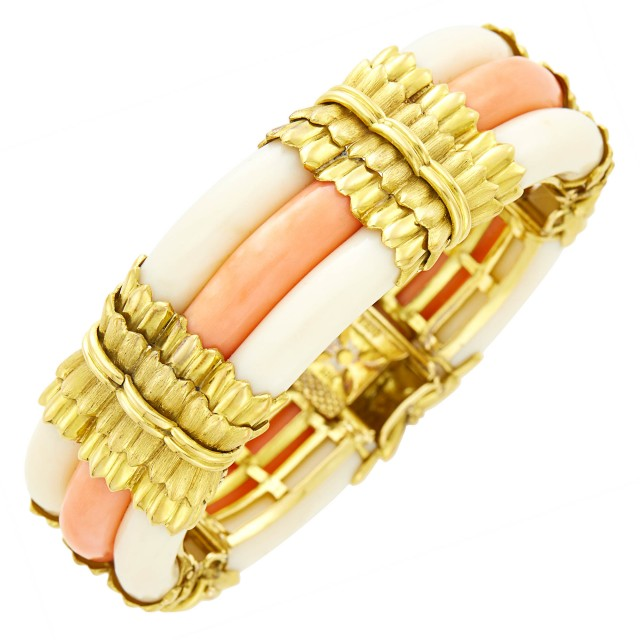 Trio Gold and Three Row Bicolor Coral Bracelet