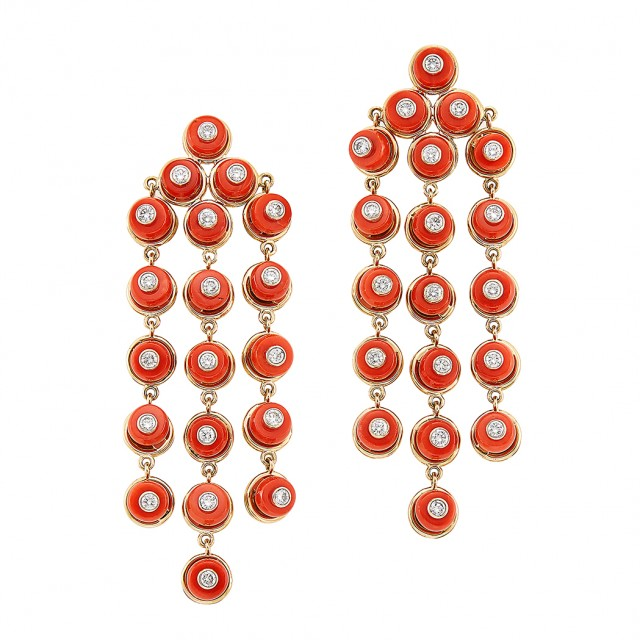 Pair of Gold, Coral and Diamond Fringe Earclips, Aletto Brothers