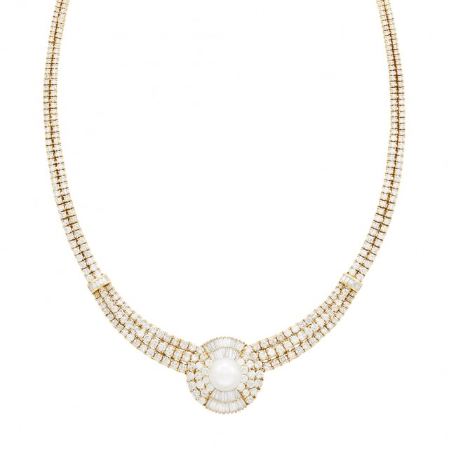 Gold, Cultured Pearl and Diamond Necklace