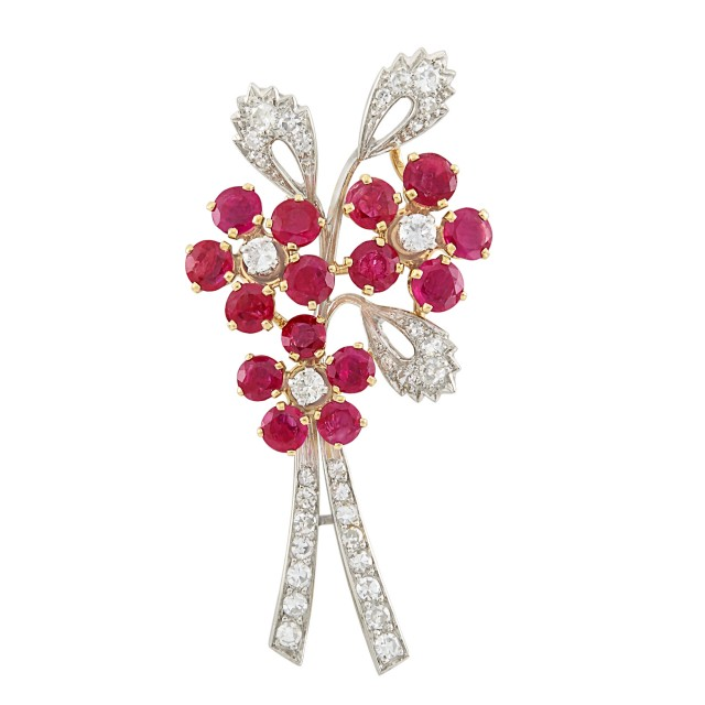 Platinum, Gold, Ruby and Diamond Bouquet Clip-Brooch, France