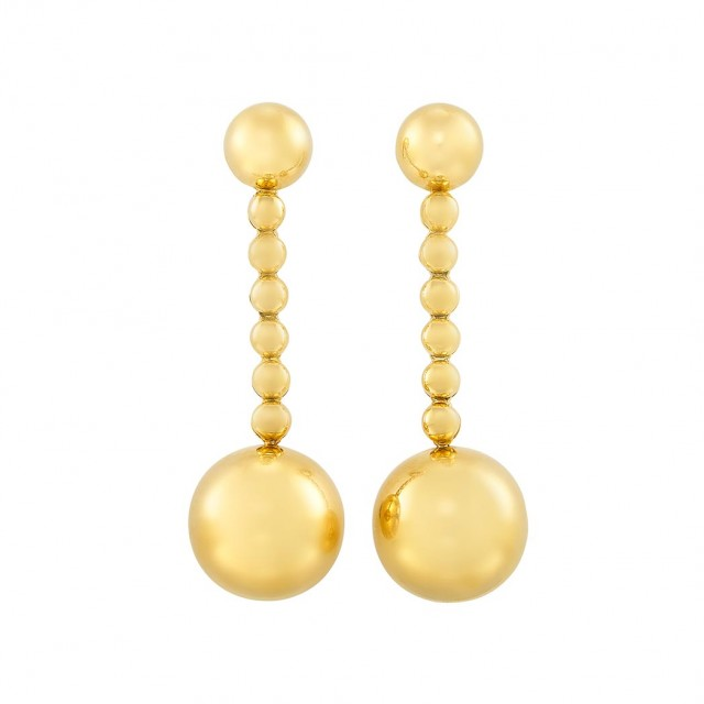 Pair of Gold Ball Pendant-Earclips, de Grisogono