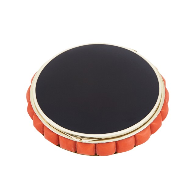 Art Deco Silver, Black Onyx and Coral Compact