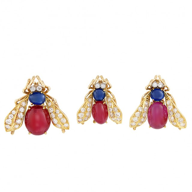 Three Gold, Cabochon Ruby and Sapphire and Diamond Bee Pins, Van Cleef and Arpels