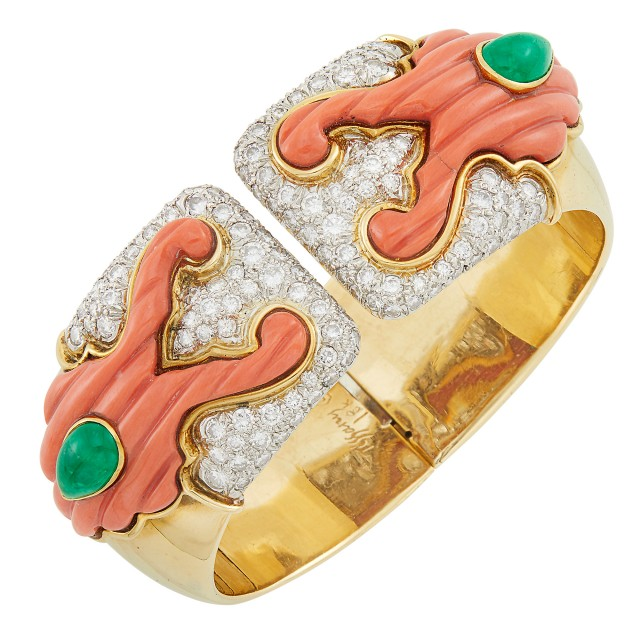 Gold, Platinum, Carved Coral, Cabochon Emerald and Diamond Cuff Bangle Bracelet, Tiffany and Co.