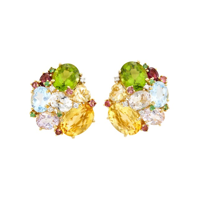 Pair of Gold, Gem-Set and Diamond Cluster Earclips