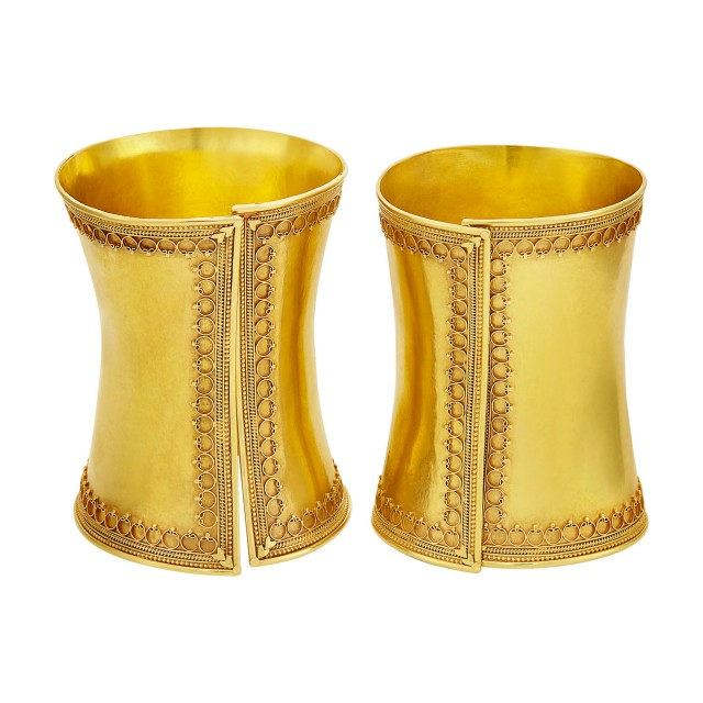 Pair of Gold Cuff Bangle Bracelets