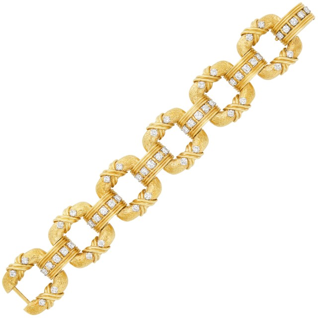 Gold, Platinum and Diamond Link Bracelet, Tiffany and Co., Schlumberger