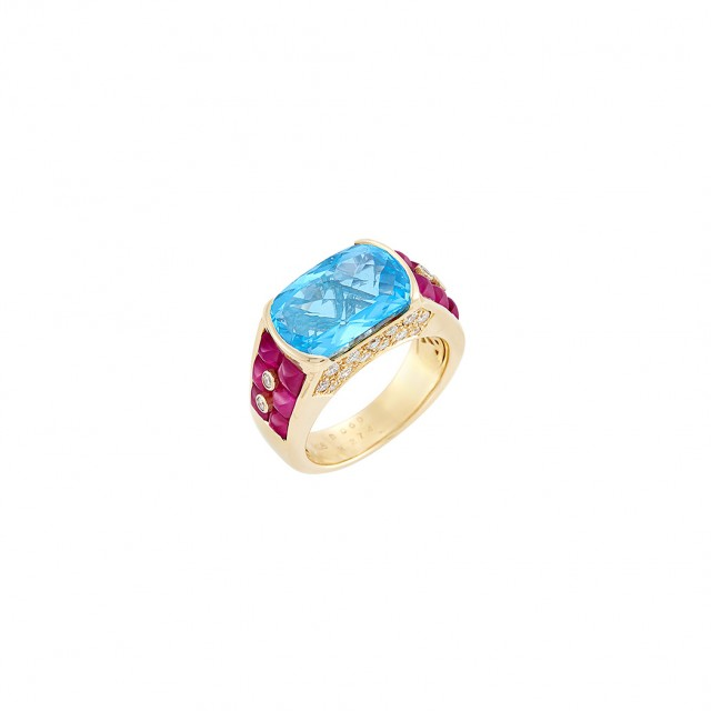 Gold, Blue Topaz, Ruby and Diamond Ring