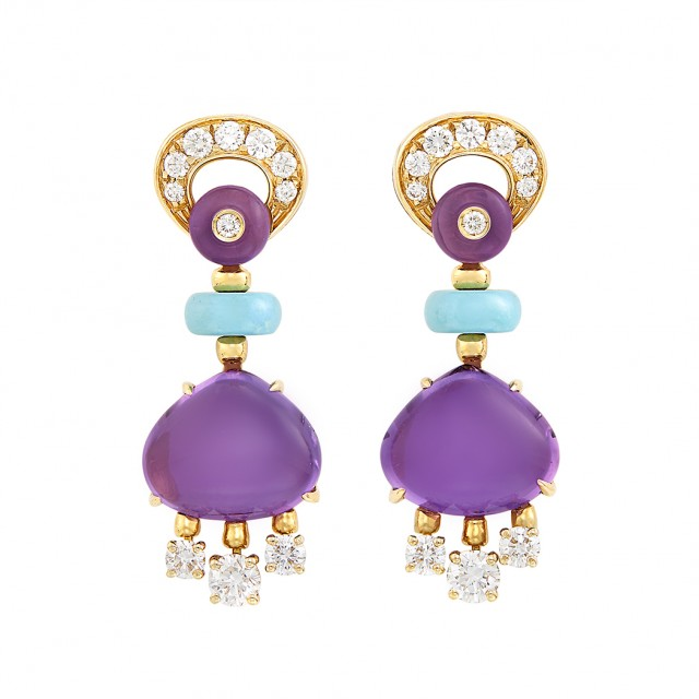 Pair of Gold, Cabochon Amethyst, Turquoise and Diamond Pendant-Earrings, Bulgari
