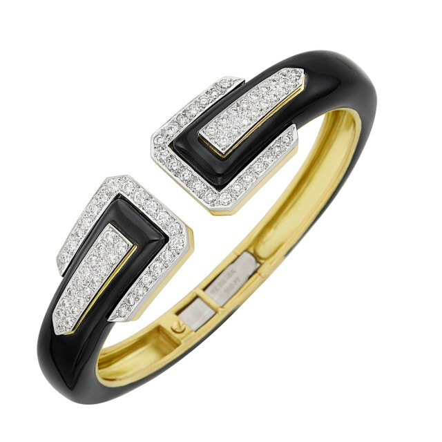 Gold, Platinum, Black Enamel and Diamond Bangle Bracelet, David Webb