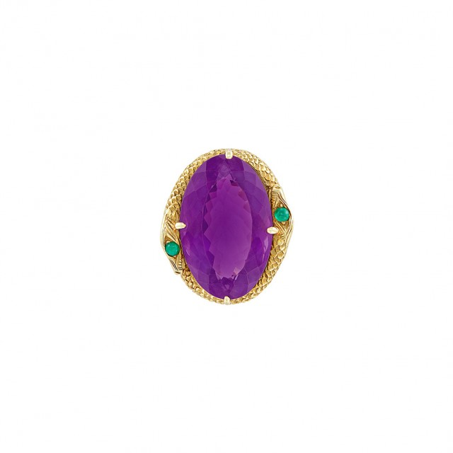Gold, Amethyst and Cabochon Emerald Snake Ring, Boris LeBeau
