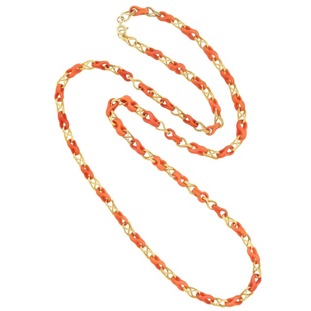 Long Gold and Carved Coral Chain Necklace