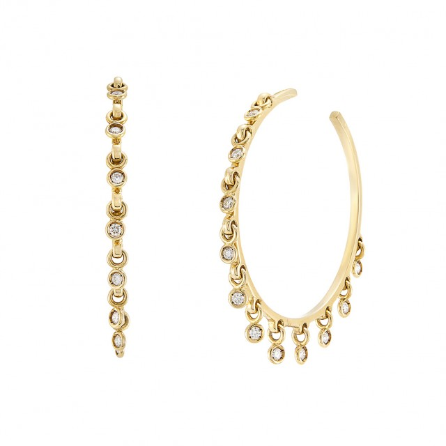 Pair of Gold and Diamond Fringe Hoop Earrings, Christian Dior, France