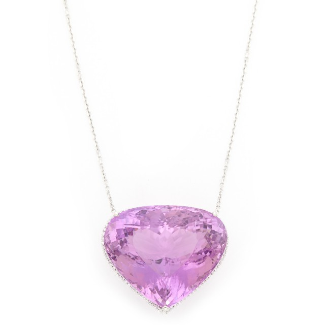 White Gold, Kunzite and Diamond Pendant with Chain