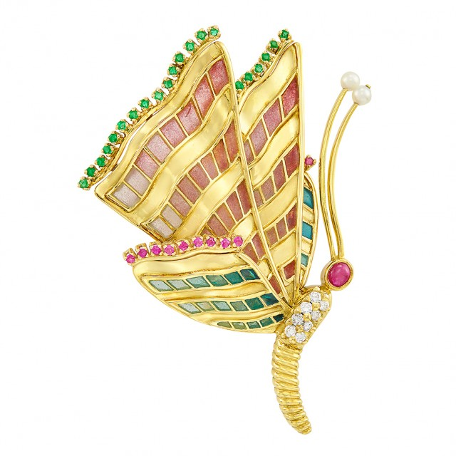 Gold, Plique-à-Jour Enamel, Gem-Set, Diamond and Cultured Pearl Butterfly Clip-Brooch