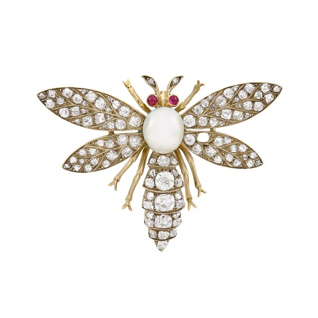 Antique Diamond and Pearl Insect Brooch