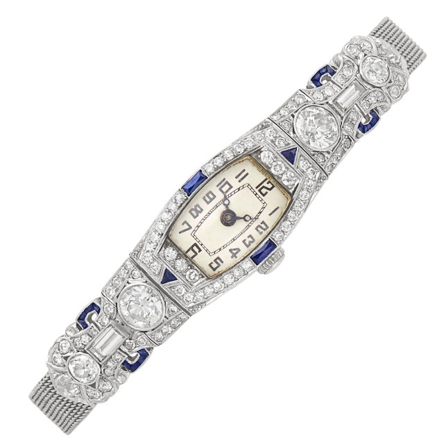 Platinum, Low Karat White Gold, Diamond and Synthetic Sapphire Mesh Wristwatch
