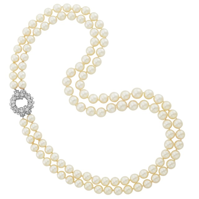 Double Strand Cultured Pearl Necklace with Platinum and Diamond Clasp