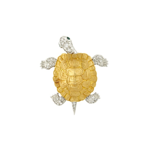 Tiffany and Co. Gold, Platinum, Diamond and Emerald Turtle Brooch