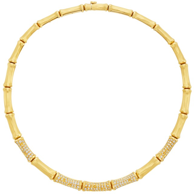 Gold and Diamond Bamboo Necklace, Cartier, France