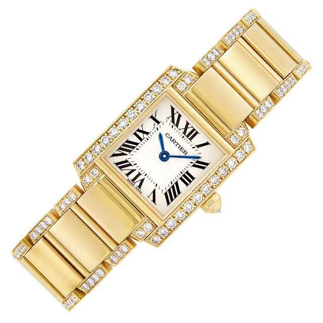 Gold and Diamond \'Tank Francaise\' Wristwatch, Cartier, Ref. 2385