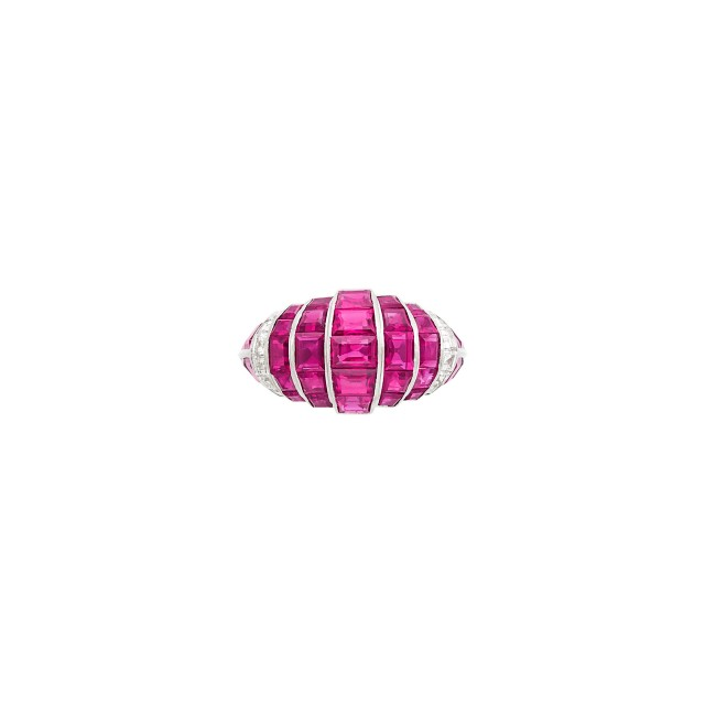Platinum, Ruby and Diamond Bombé Ring, Jacques Cartier