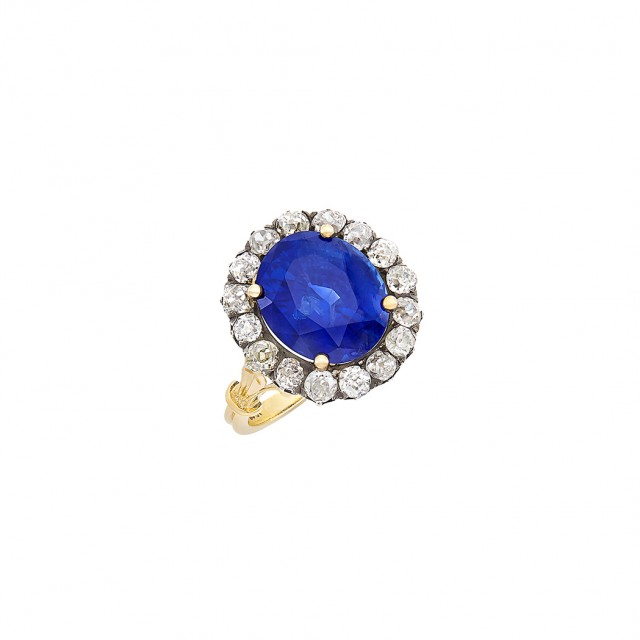 Antique Gold, Silver, Sapphire and Diamond Ring