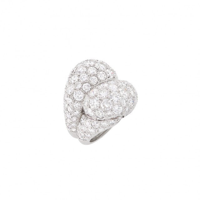 Platinum and Diamond Double Boule Ring